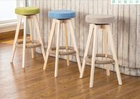European Style Wood Retro Bar Stools Simple Rotation High Bar Stool Front Desk Stool