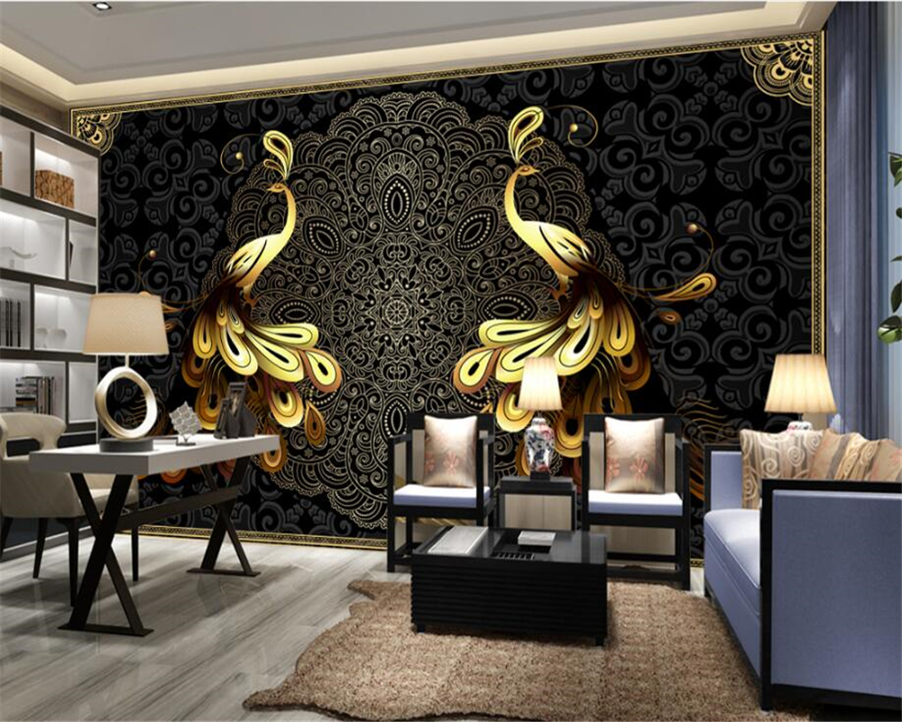 black and gold wallpaper for living room living room