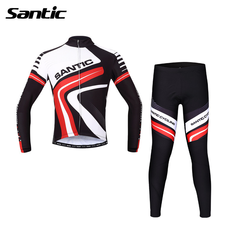 Santic Spring Long Sleeve Cycling Jersey Men Suits Jacket Cycling Padded Pants Bike Clothing Cycling Clothing MCT044R xintown men s cycling long jersey top padded pants set black purple multi color m