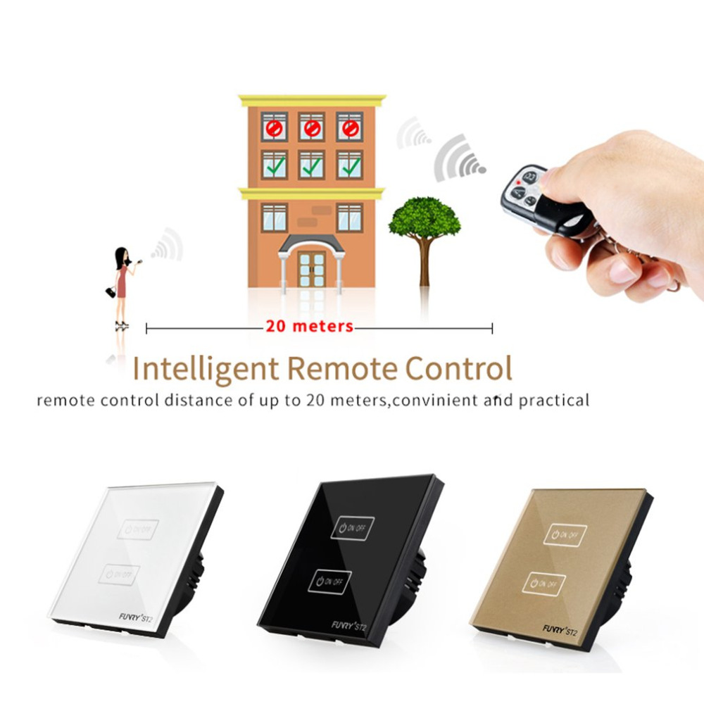 FUNRY 2 Gang US Remote Control Touch Switch Intelligent Glass Panel Smart ST2-3-R Waterproof Shiny Panel LED Wall funry st1 us 3gang light smart switch crystal glass panel wireless touch remote control 110 240v surface waterproof interruptor