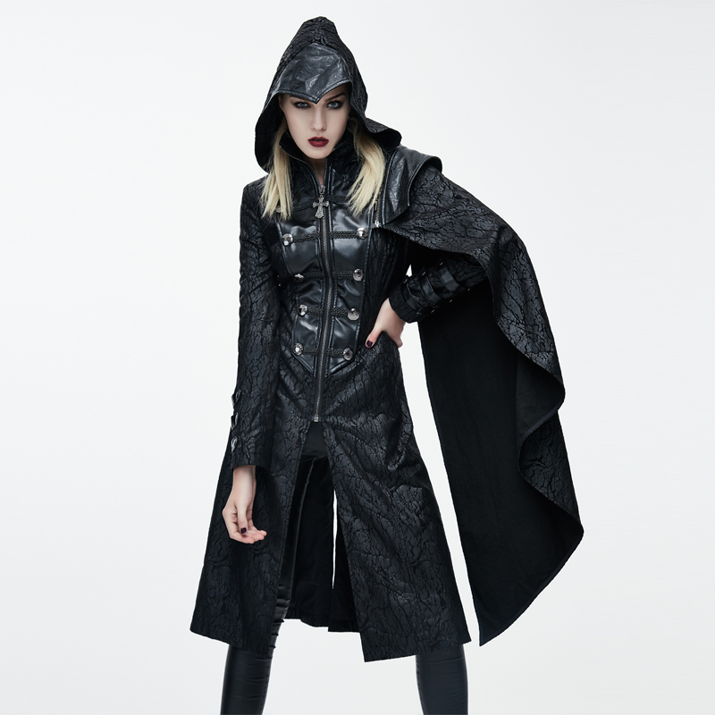 Devil Fashion 2017 Gothic Hooded WomenLong Coats Punk Faux   Leather   Handsome Jackets With Detachable Shawls Black Overcoats