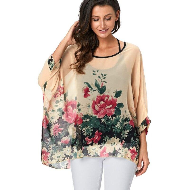 d2981ce9e3f608c 4XL-6XL плюс размер женская шифоновая блузка с цветочным принтом Blusas летняя  модная повседневная рубашка