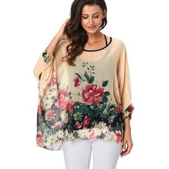 b4ded4b8383 4XL-6XL плюс размер женская шифоновая блузка с цветочным принтом Blusas  летняя модная повседневная рубашка пляжные блузки в богемном стиле женск.