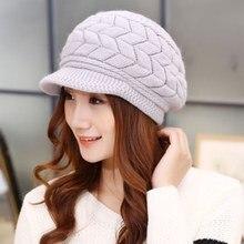 New Women Winter Hat Warm Beanies Fleece Inside Knitted Hats For Woman  Rabbit Fur Cap Autumn 2f51835ab28d
