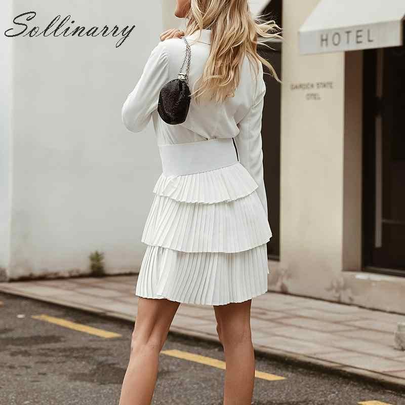 Sollinarry/модный белый блейзер с высокой талией, платье для женщин 2019, сексуальное Плиссированное короткое платье с длинными рукавами, элегантное женское зимнее платье