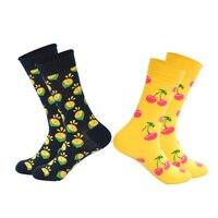 LIONZONE Hot Sale Brand Men Women Unisex Happy Socks Plaid Diamond Animal Cherry Fruits Funny Combed