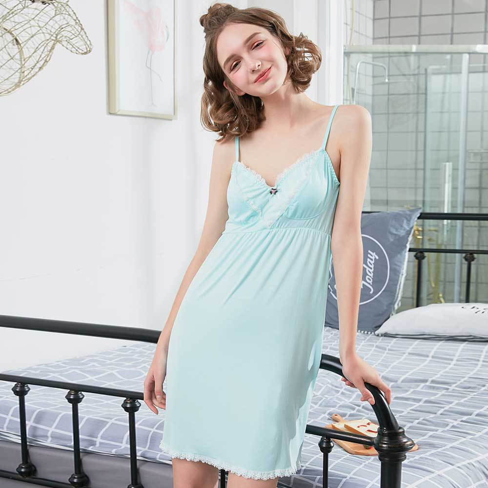 New Summer Pyjama Women Lace Nightgown Deep V-Necck Sleepwear Nightskirt Modal Night Gown For Home Night Dress