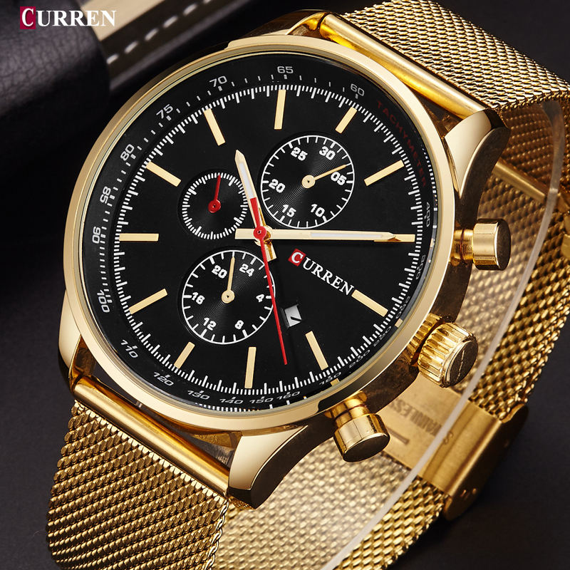 Curren Mens Watches Top Brand Luxury Gold Black Quartz Watch Stainless Steel Casual Men Sport Clock Wristwatch relogio masculino curren 8023 mens watches top brand luxury stainless steel quartz men watch military sport clock man wristwatch relogio masculino