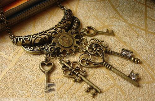 Free Shipping Steampunk Accessories Jewelry Key And