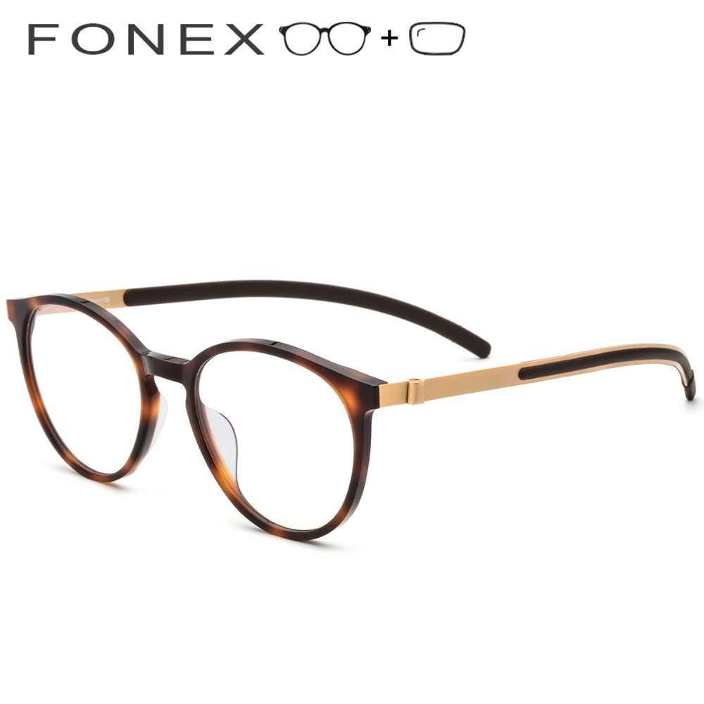 8fbfe9e1507 B Pure Titanium Prescription Glasses Women 2019 New Vintage Round Acetate  Eyeglasses Men Myopia Optical Frames