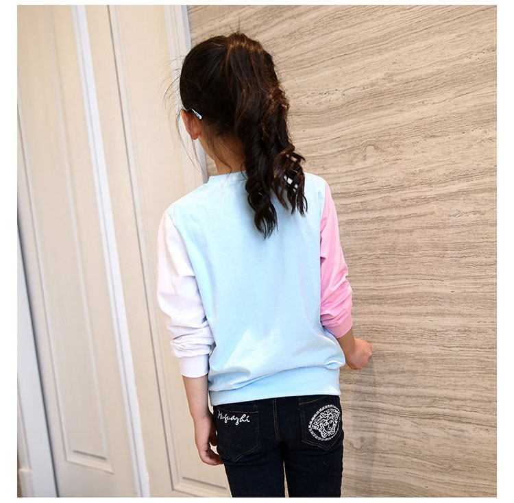 little teenage girls t-shirt character girls tops blue white pink patchwork tees girl tshirt 2016 spring autumn kids clothes  6 7 8 9 10 11 12 13 14 15 16 years old big little teenage girls long sleeve t-shirts children clothing (13)