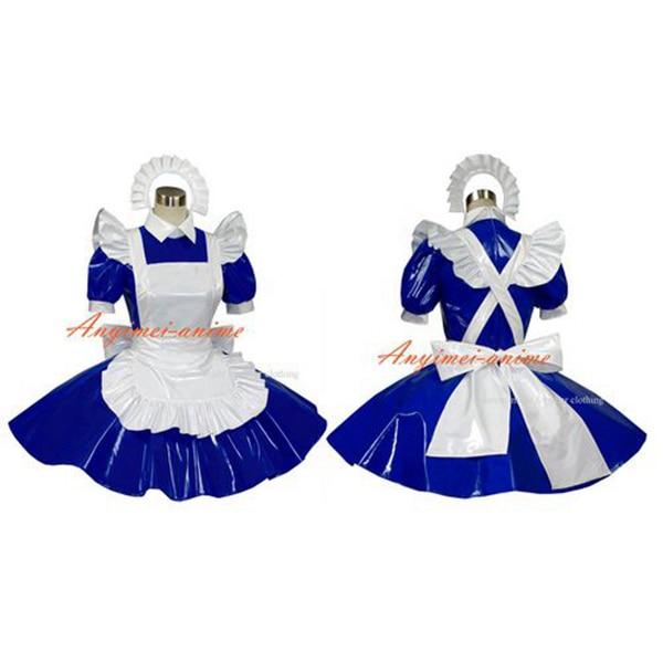 Пикантные Сисси горничной платье ПВХ синий с замочком форма карнавальный костюм на заказ