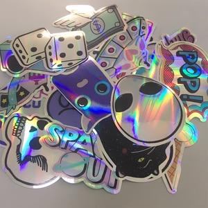 Image 1 - 20 pçs/set legal estrela laser adesivos para motocicleta notebook trolley caso skate colorido crânio cruz dope adesivo pacote decalques