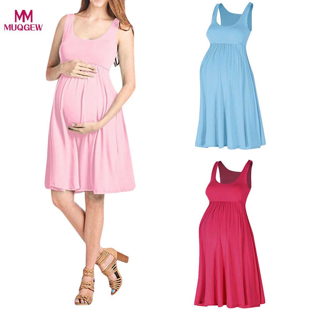 9ec43aecc6a89 Fashion Womens Pregnants O-Neck Sleeveless Nursing Maternity Solid Vest Dress  maternity dresses pregnancy vestidos