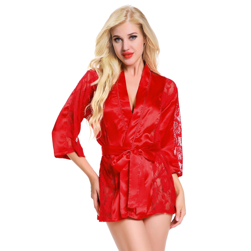 Sexy Lingerie Robe Dress Women Lingerie Sexy Hot Erotic Nightwear Lace Sex Costumes Kimono Bathrobe Dressing Gown 2018 New