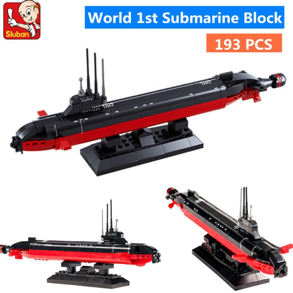 цены 193pcs Sluban 2017 New B0391 NUCLEAR SUBMARINE Army NAVY Warship DIY Model Building Blocks Bricks Toys Gift DIY Free Shipping