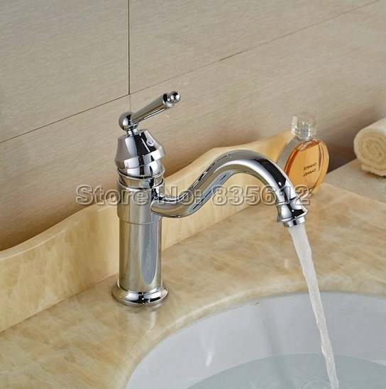 Chrome Brass Swivel Spout Bathroom Faucet Single Hole Washbasin Mixer Sink Faucets Single Lever Cold Hot