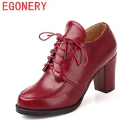 EGONERY Woman Pumps 2017 Spring Autumn Lace Up Office Lady Shoes High Heel Retro Style Round