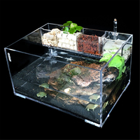 Large Aquarium Fish Tank with Water Pump Filter Home Office Desktop Decoration Goldfish Turtle Breeding Box Cage Transparent