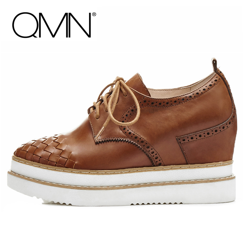 QMN women genuine leather flats Women Woven Glossy Leather Platform Brogue Shoes Woman Round Toe Height Increasing Leisure Shoes qmn women crystal embellished natural suede brogue shoes women square toe platform oxfords shoes woman genuine leather flats