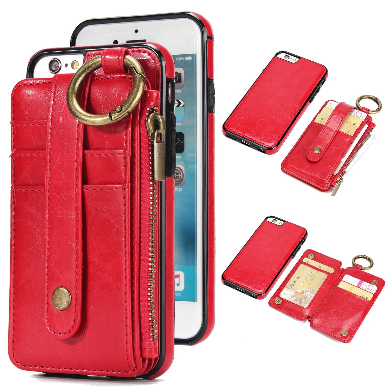 2 в 1 кошелек сумка с кожаный чехол для телефона IPhone X 8 8 P 7 7 P 6 S 6sp 6 6 P с кольцом носить на Ремни