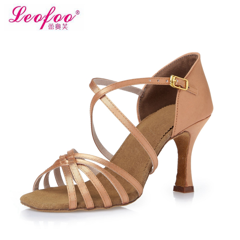 Women's Dance Shoes Latin dance shoes Party shoes Heels Chunky Heel 8.5cm Color of skin satin Factory direct sale CL24