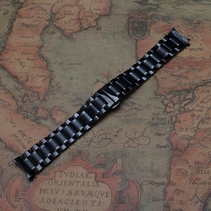 Black Metal Stainless steel Watchbands Straps Bracelets with curved end Watch band 14mm 15mm 16mm 17mm 18mm 19mm 20mm 21mm 22mm 1 8mm stainless steel quick release pin 12mm 14mm 16mm 17mm 18mm 19mm 20mm 21mm 22mm 23mm 24mm repair spring bar for watch band