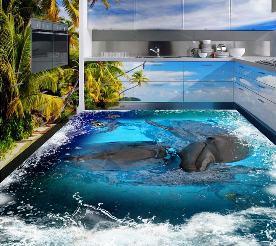 ФОТО Custom 3D flooring sea world wallpaper Underwater World Dolphin self-adhesive 3d floor stickers