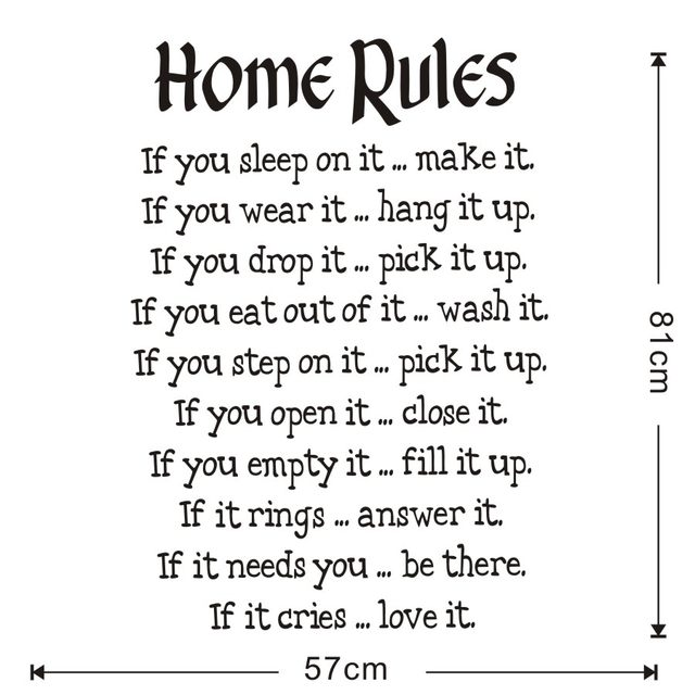 Simple Design House Rules Wall Stickers For Living Room Decor Text Home Saying Wallpaper Art Decals Decorations