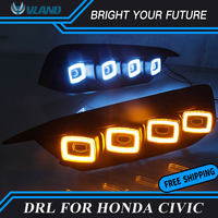 Car Daylight for 2016 2019 Honda civic 10th LED Daytime Running Light Fog Light with yellow turn signals and blue night light