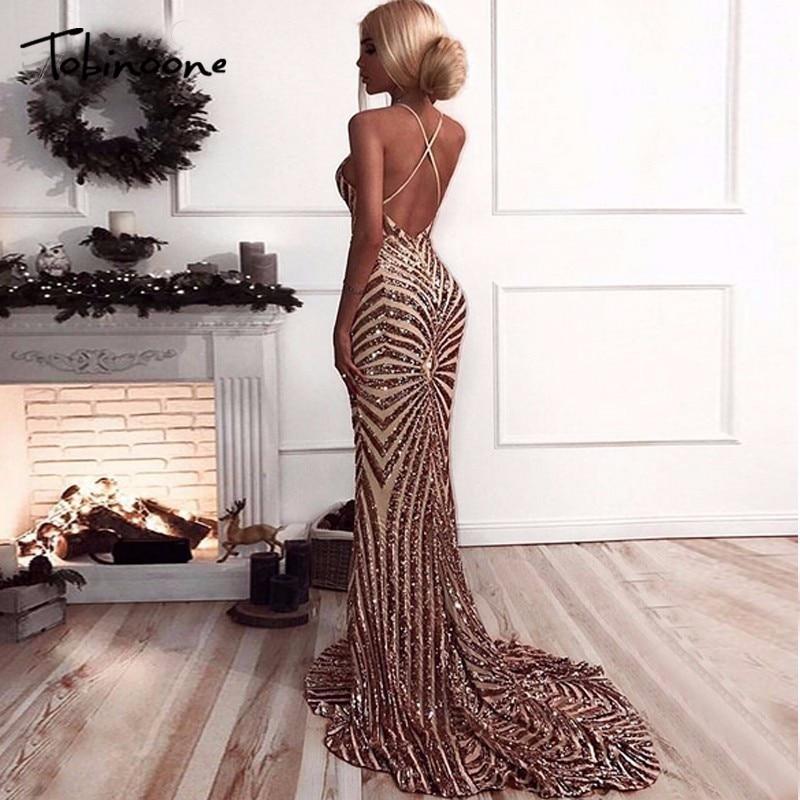 Tobinoone 2018 Elegant Deep V Neck Party Dresses Gold Sequined Maxi Dresses Backless Bodycon Evening Club Mermaid Dress