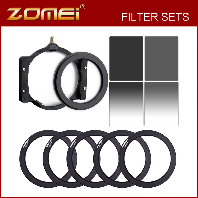 Zomei 10 in 1 Square Z-PRO Series Filter Holder Support + Full Grey ND4+ND8 +Gradual Grey ND4 + ND8 +67,72,77,82,86mm Ring напальчник рыболовный buff pro series finger guards toothy grey цвет серый