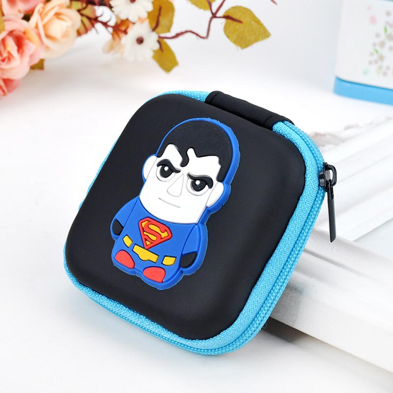 2017 New Designs Silicone Coin Purse Cartoon Anime Hero Superman Captain America Headset Holder Bags Boy Girl Kawaii Coin Wallet cartoon pokemon go purse pocket monster pikachu johnny turtle ibrahimovic zero wallets pen pencil bags boy girl leather wallet
