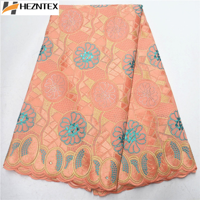 New Design Peach African Cotton Swiss Voile Lace High Quality Swiss Voile Lace In Switzerland African Dry Lace Fabric PSA609-1