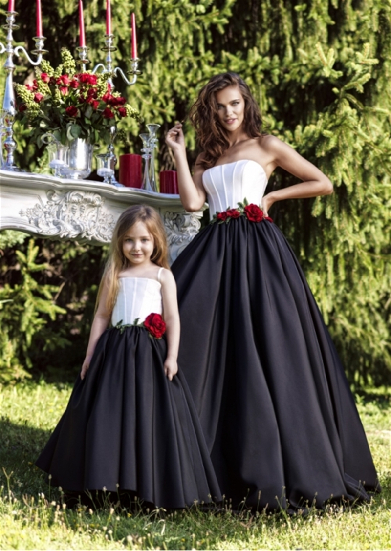 2017 fashion mother daughter dresses black white flower girl dresses 2017 fashion mother daughter dresses black white flower girl dresses ball gown prom party dress family dress mother kids tk03 in evening dresses from mightylinksfo