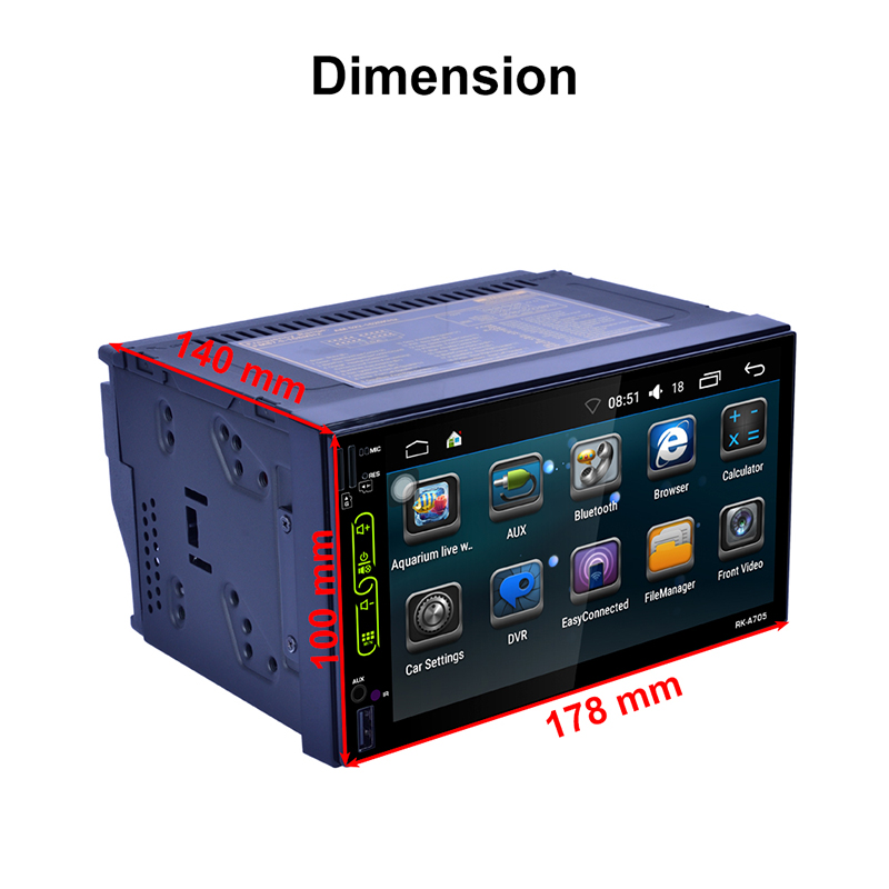 Auto 7 Inch Car Radio QUAD Core Android 2 Din Bluetooth Car Radio Digital Touch Screen GPS Navigation AM FM WIFI Stereo Player