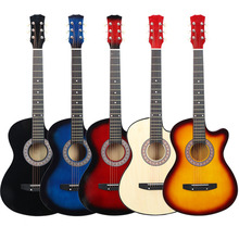 Дешевые 38 дюймов отсутствует Угол баллада дерева гитара Начинающий Практика Музыкальный инструмент инструменты акустической гитары синтезатор WJ-JX7