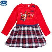 Novatx H6646 2017Girls Long Sleeve Dresses Striped Children Clothes Frocks Kids Clothes Girl Dress Baby Girls