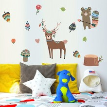 Nordic Deer beer Wall Stickers Woodland Animals plant tree wall art For Kids room Nursery  Home Decor