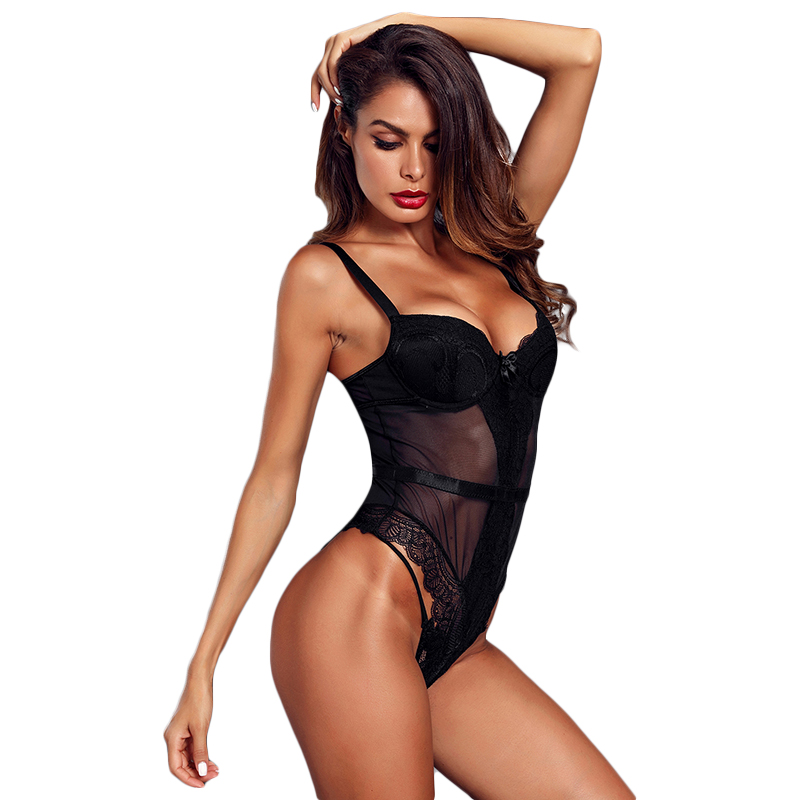 Black-Sheer-Lace-Spaghetti-Strap-Bodysuit-LC32259-2-6