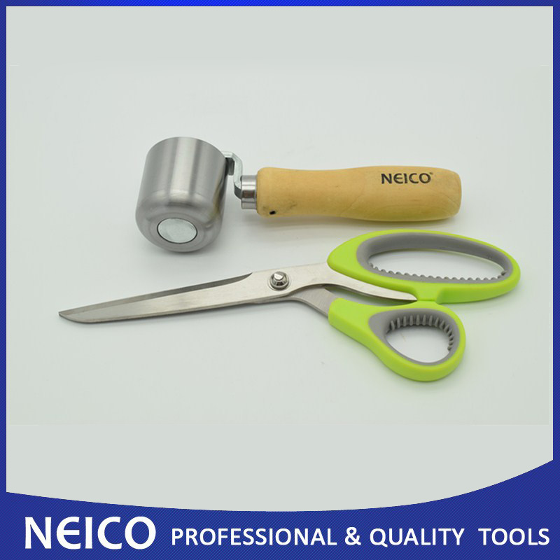 Free Shipping, 2PCS 50mm Steel Radiused Seam Roller With 10 Scissors For Single Ply Roofing And Flash Tape Installing