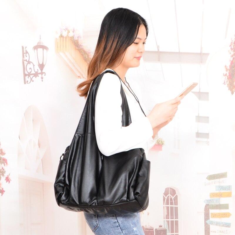 Image 5 - 2019 роскошная женская Сумка Хобо с верхней ручкой, женские сумки через плечо, мягкая сумка мессенджер, кожаная повседневная сумка тоут-in Сумки с ручками from Багаж и сумки