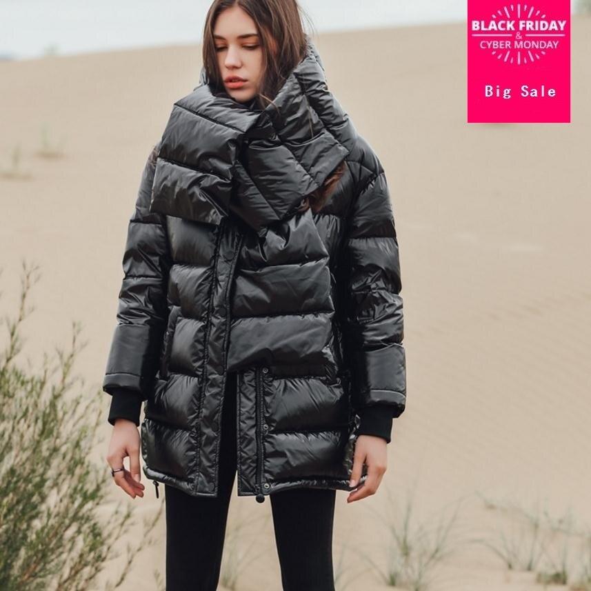 2018 зима новый модный бренд 90% белый пуховик женский большой размер теплый длинный пуховик с красивым нагрудником wq151