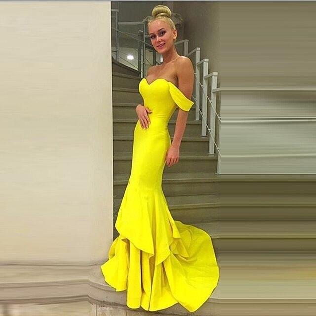 Huifany New Yellow Sweetheart Satin Haute Couture Dresses Mermaid