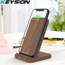 KEYSION 10W Qi szybka bezprzewodowa ładowarka do Samsung S20 S10 S9 drewniana bezprzewodowa podstawka ładująca do iPhone 12 11 Pro XR XS Max 8 Plus