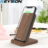 KEYSION 10W Qi Fast Wireless Charger for Samsung S10 S9 S8 Wooden wireless Charging Stand For iPhone 11 Pro XR XS Max X 8 Plus