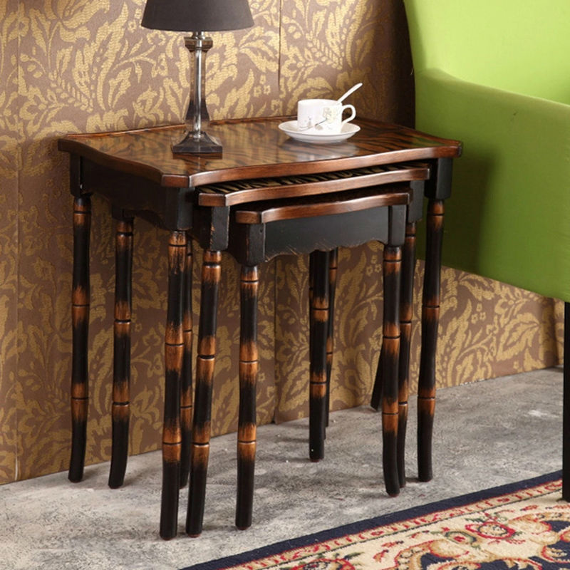 Retro Hand Painted Side Table Set Coffee Table Antique Wooden Furniture  Living Room Furniture 3 ... Part 50