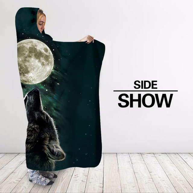 Three Wolf Moon 3D Printed Plush Hooded Blanket 3