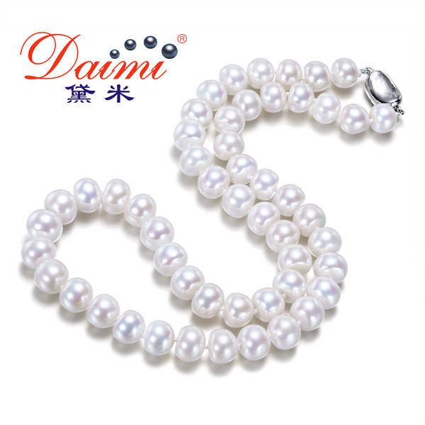 Fine Jewelry 8 9mm Natural Pearl Choker Necklaces 18 Inches White Freshwater Pearl Classic Promotion Gift