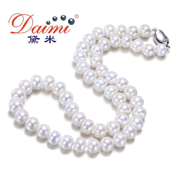Beaux bijoux 8 9mm naturel perle Choker colliers 18 pouces blanc perle d'eau douce classique Promotion cadeau mère collier-in Colliers from Bijoux et Accessoires    1